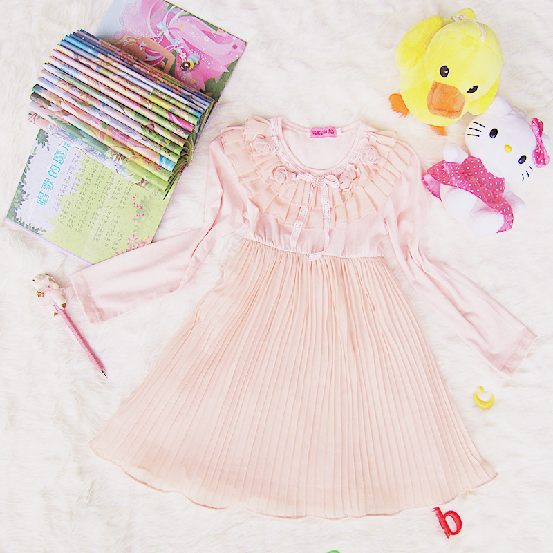 Full Sleeve Flower Pink Ivory Fashion Wholesale girls party dresses princess dress girl Kids Clothing <br><br>Aliexpress