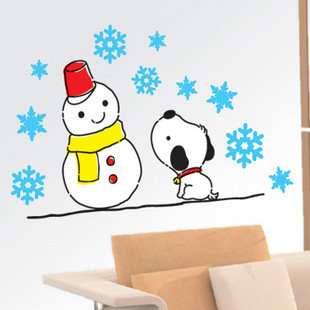 Christmas second generation wall stickers wall covering cartoon child real sofa snowman(China (Mainland))