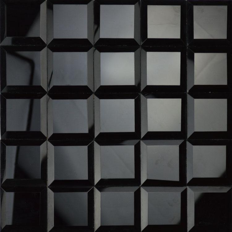 Black Mosaic Tiles Kitchen: Glossy Black Color 5 Faced Diamond Mirror Glass Mosaic