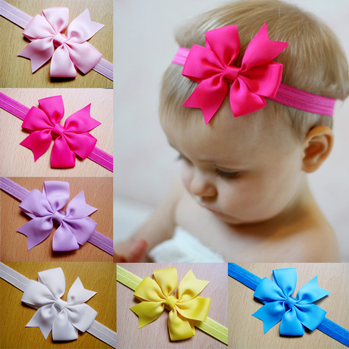 2014 accessories toddler infant headbands boutique hair bow elastic ribbon baby girls flowers headband christmas gift 21colors(China (Mainland))