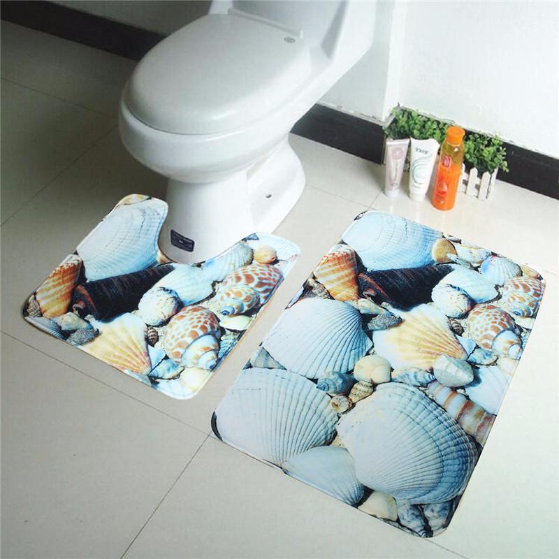 2 pcs sea beach blue shell bath rug set toilet rug