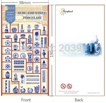 New Vintage Blue and white Porcelain series paper sticker/ DIY Multifunction note label/sign Post/Wholesale(China (Mainland))