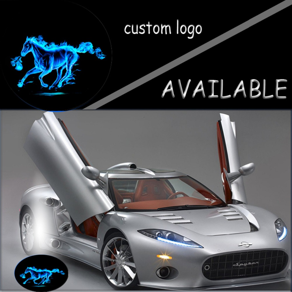 Pair Blue Fire Horse Mustang Logo LED Light 12V Car Door Welcome Light Projector Ghost Shadow Light For Ford #4866*4(China (Mainland))