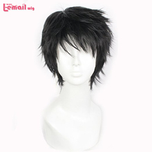 2014 New Arrival Heat Resistant Synthetic 25cm Man Short Black Cosplay Wig WA02(China (Mainland))