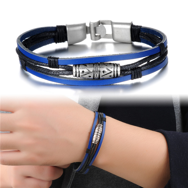 Blue Genuine Leather Vintage Retro Punk Men Charm Bracelets Bangles For Man Fashion OPK Brand Jewelry