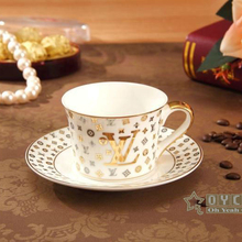 """Porcelain tea cup and saucer bone china coffee set """"VL"""" letter design outline in gold coffee cup and saucer set cup and saucer(China (Mainland))"""