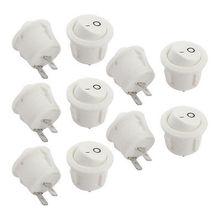10 Unids Redondo Blanco AC 250 V 6A 2 Pin SPST ON OFF Interruptor Basculante