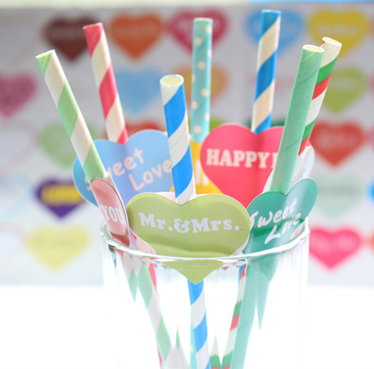Free shipping 100pcs creative wedding banquet green straw color optional color paper straw colored small label stickers(China (Mainland))
