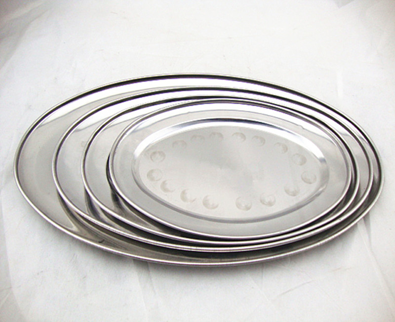 dinner plates oval dishes flat plates Anti-shock metal stainless stell buffet dishes shallow Restaurant Barbecue dish table ware(China (Mainland))