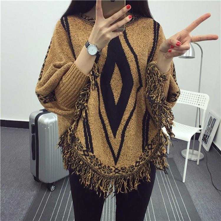 2016ฤดูใบไม้ร่วงฤดูหนาวใหม่ลำลองP Onchoผู้หญิงผ้าฝ้ายO-คอเสื้อกันหนาวเพชรรูปแบบทางเรขาคณิตแฟชั่นพู่หญิงเสื้อคลุมเสื้อปอนโช ถูก