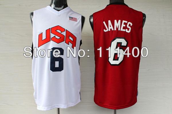 Free Ship USA Olympic Basketball Jersey #6 Lebron James White/Red London 2012 Olympics USA Dream Team Size:S-XXXL Can Mix(China (Mainland))