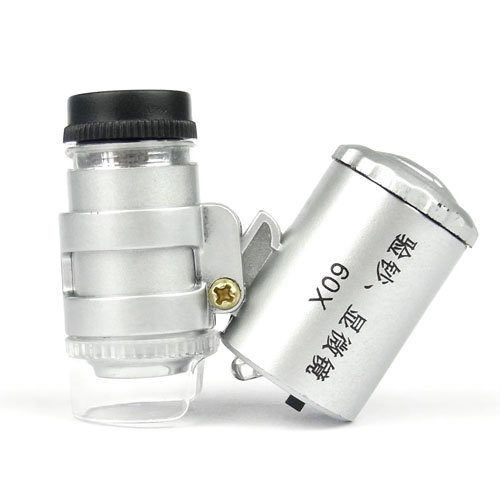 Wholesale Free shipping 10pcs/lot Mini 60X LED Light Jewelry Microscope Loupe Magnifier with Currency Detecting 1552