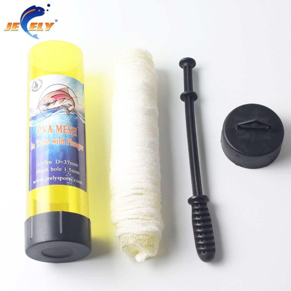 Free shipping Slow Solution 15MM/18MM/25MM/37MM/44MMX 5M Carp Fishing PVA Mesh In Tube With Plunger Refill Bar