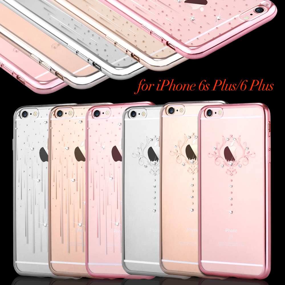 For iPhone 6s Plus/6 Plus Phone Cases DEVIA Swarovski Diamond Electroplated TPU Phone Cover Case for iPhone 6s Plus/6 Plus Shell(China (Mainland))