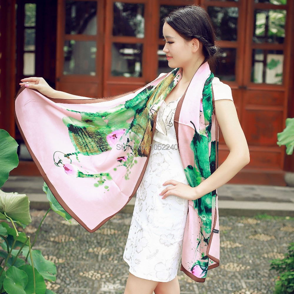 China Silk World ! Oil Painting Lotus Flower Print satin silk scarf mulberry silk scarf water lily real silk hijabs female