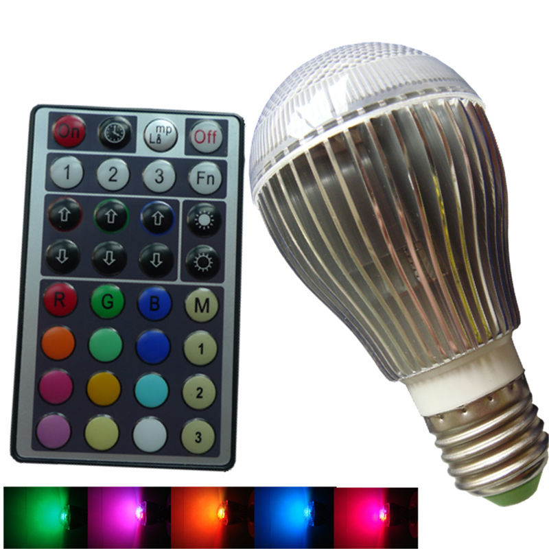 9W A19 Color Light Bulbs with Remote Control 2 Million Colors 120 Levels Brightness(China (Mainland))