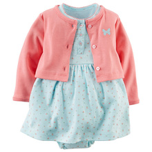 Carters Style Baby Girl Cardigan Romper Dress Bodysuit 2 Pieces Clothing Vestidos Baby Girl Princess Cute Romper Baby Dress(China (Mainland))