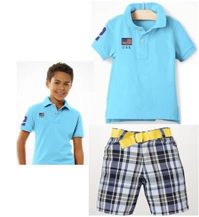 Newest Summer Children casual clothing suit baby boys sky blue short sleeve POLO t shirt + plaid shorts 2pcs set kids polo shirt(China (Mainland))