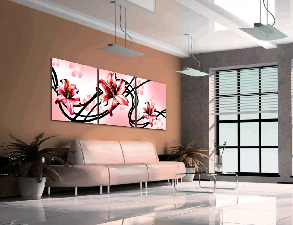 Free shipping 3 piece canvas wall art decorative red lily for Decorative pieces for living room