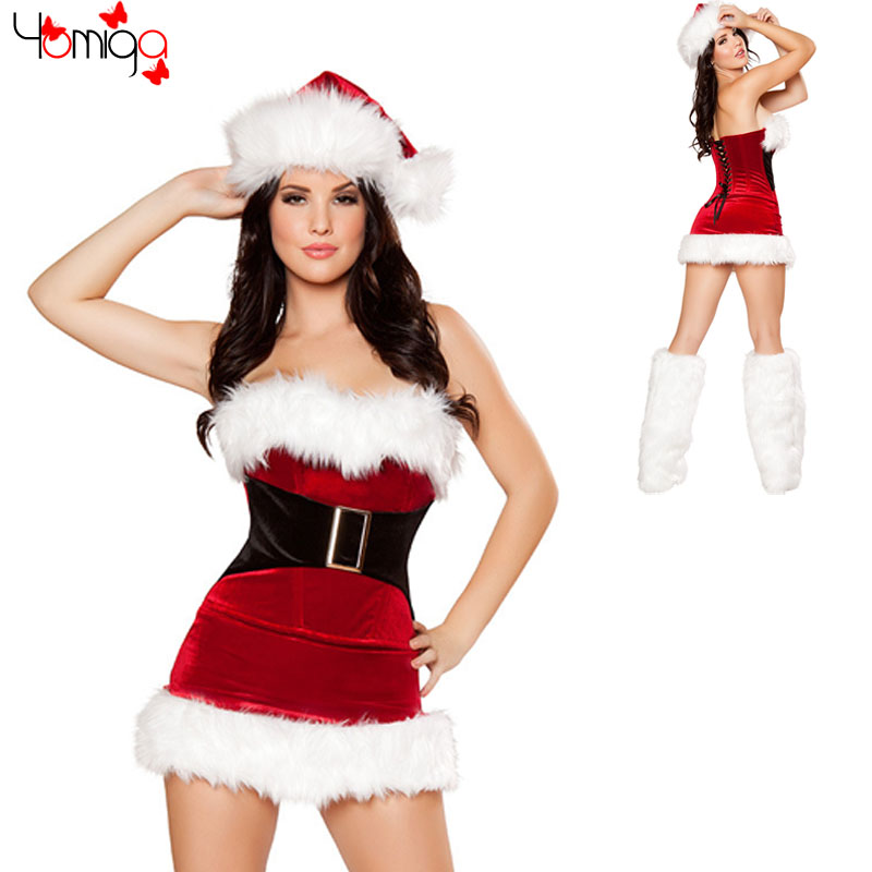 CLEARANCE SALE Off shoulder Red Santa Claus Costume Dress Cheap Adult Women Sexy Xmas Costumes Outfit Cosplay Christmas Costume(China (Mainland))