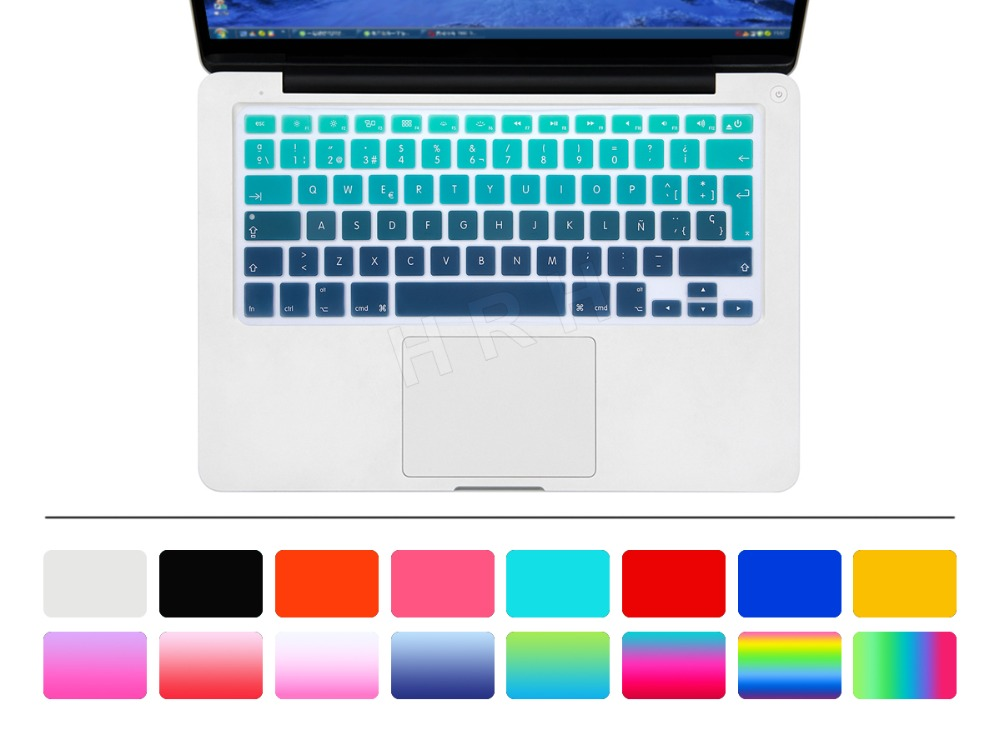 Euro Spanish Font water Dust proof keyboard cover for macbook air 13 protector Gradual change colors pro 13 15 retina(China (Mainland))