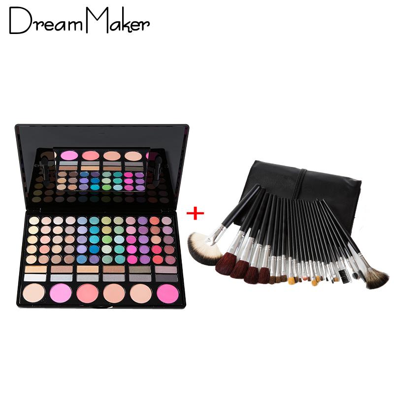 Maquiagem 24 Pcs Make Up Brushes Goat Hair Black Leather Case Match 78 Colors Eyeshadow Palette Makeup Sets Professional Tools