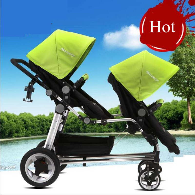 2 Babies Pushchair Pram Twins Carriage Strollers Absorbers Baby Stroller High Landscape Kids Trolley 30cm Inflatable Free Tires(China (Mainland))