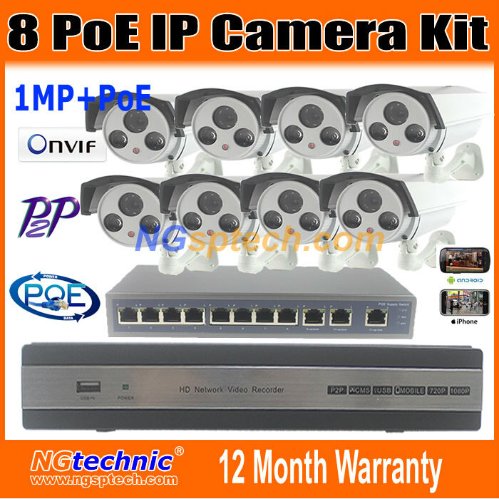 New! Security CCTV System 8CH POE NVR 8pcs waterproof 720p IP Camera 1.0MP Onvif P2P Optional Lens and 8 ports switch NVR Kits(China (Mainland))
