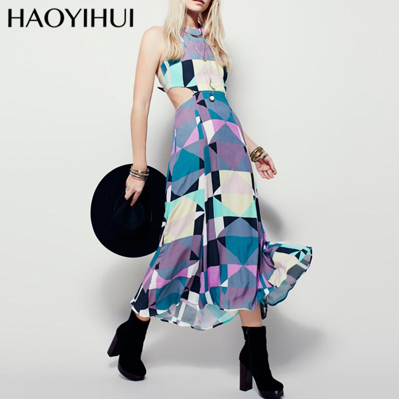 HAOYIHUI 2016 Brand New Summer Women's Boho Pop art Print Party Club Sexy Backless Halter Chiffon Maxi Dress(China (Mainland))