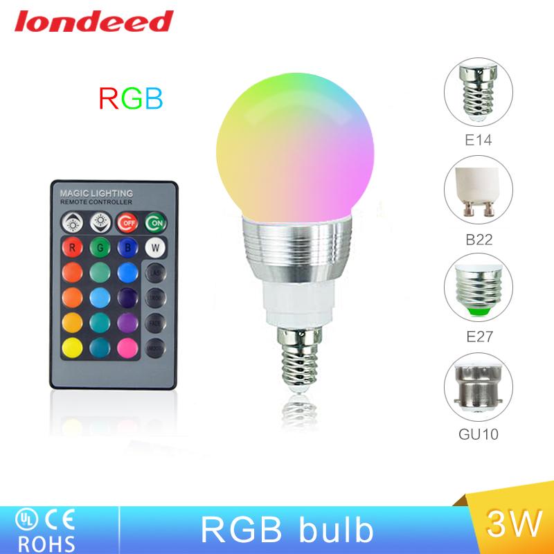 Free Shipping E27 LED RGB Bulb Lamp E27/E14/B22/GU10 AC110/220V Spot Light Dimmable LED light bulbs RGB Lighting Remote Control(China (Mainland))