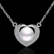 N013 Free Shipping Women Love heart Necklace 18K Gold Austrian Crystal Pendant Necklace Pearl Jewlery Vintage