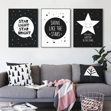 Modern Black White Nordic Kawaii Star Quotes Art Print Poster Wall Picture Nursery Canvas Painting No Frame Baby Room Decoration(China (Mainland))