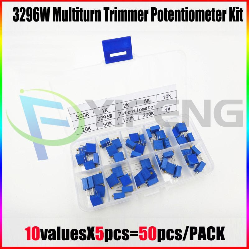 Гаджет  50Pcs/Lot 3296W Multiturn Trimmer Potentiometer Kit High Precision 3296 Variable Resistor 500R 1K 2K 5K 10K 20K 50K 100K 200K 1M None Электронные компоненты и материалы