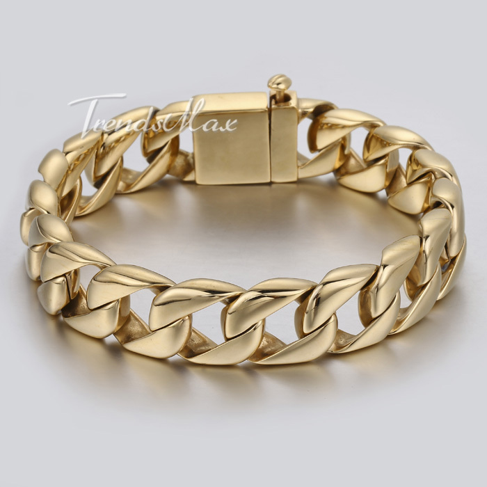 15mm Smooth Curb Link Gold Tone Men Chain Boy 316L Stainless Steel Bracelet Demon Clasp Customized
