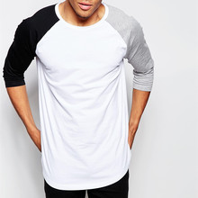 3/4 Sleeve T-Shirt With Contrast Raglan Sleeves O neck cotton men t shirt brand Three Quarter Tops S-XXL