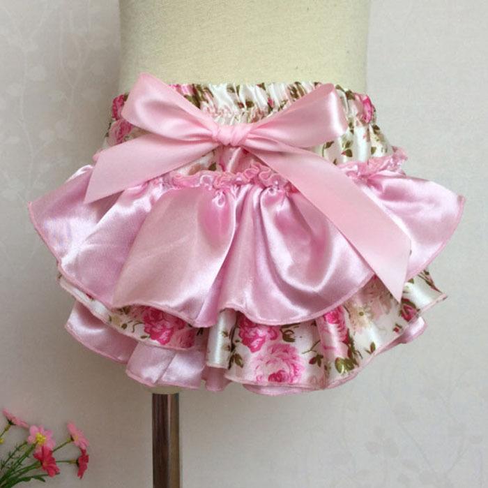 10Pcs/Lot 2015 Baby Girls Satin Shorts Flowers Printed Ruffles Bow Shorts Toddler Infant Bloomer Briefs Underwear PP Pants Y153(China (Mainland))