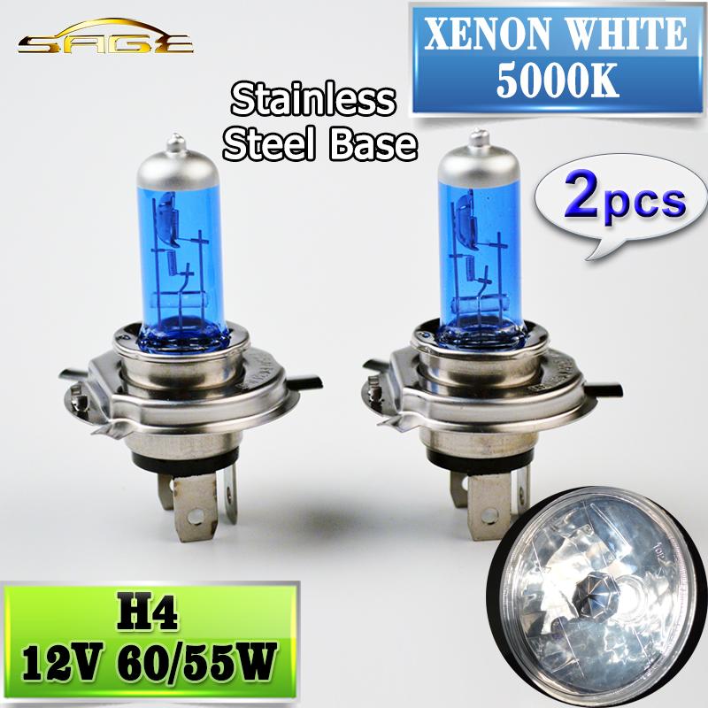 2 PCS 12V 60/55W H4 Halogen Lamp 5000K Car Halogen Bulb Xenon Dark Blue Glass Super White(China (Mainland))