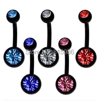 mix 5color Body Jewelry Stainless Steel Navel Button Ring Belly Piercing - JK Factory store