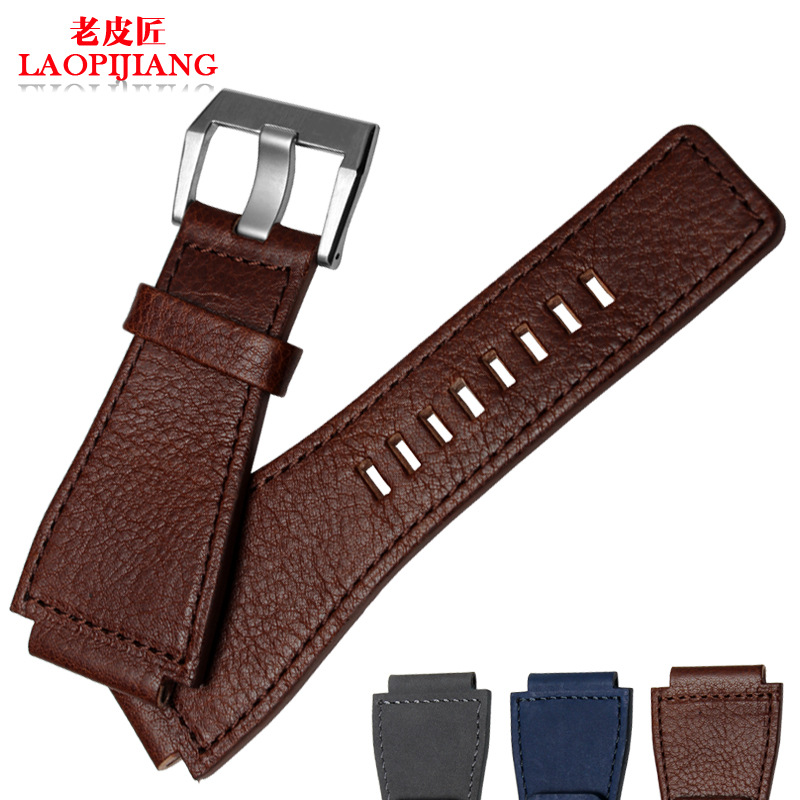 Watch band  male Leather Watchband  top layer leather Watch accessories Convex interface Pin buckle Comfortable luxury<br><br>Aliexpress