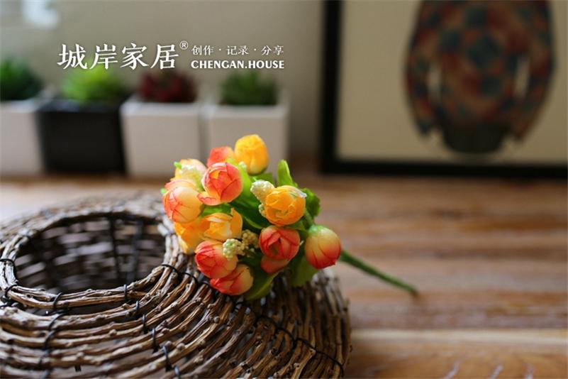 New Arrival Cheap Decorative Flowers 1 Bouquet 15 Head Artificial flower Rose Silk peony Flower Decor for wedding flower garland(China (Mainland))