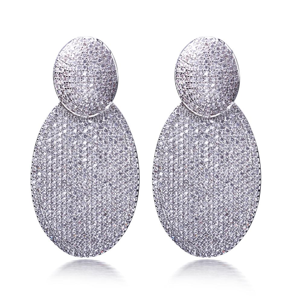 Здесь можно купить   luxury premium quality zircon handmade earrings White plated vintage long earrings bridal wedding drop earrings free shipping  Ювелирные изделия и часы