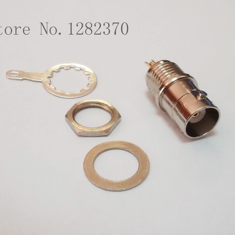 [SA] BNCF2050 Professional panel mounting BNC female brass gilt pin insulators tetrafluoroethylene TELFON Q9 seat  --50pcs/lot<br><br>Aliexpress