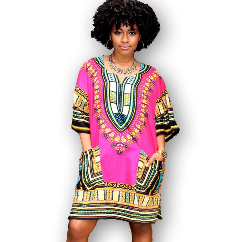 Popular  SummerAfricanWomenClothingVNeckWhiteDashikiDressForWomen