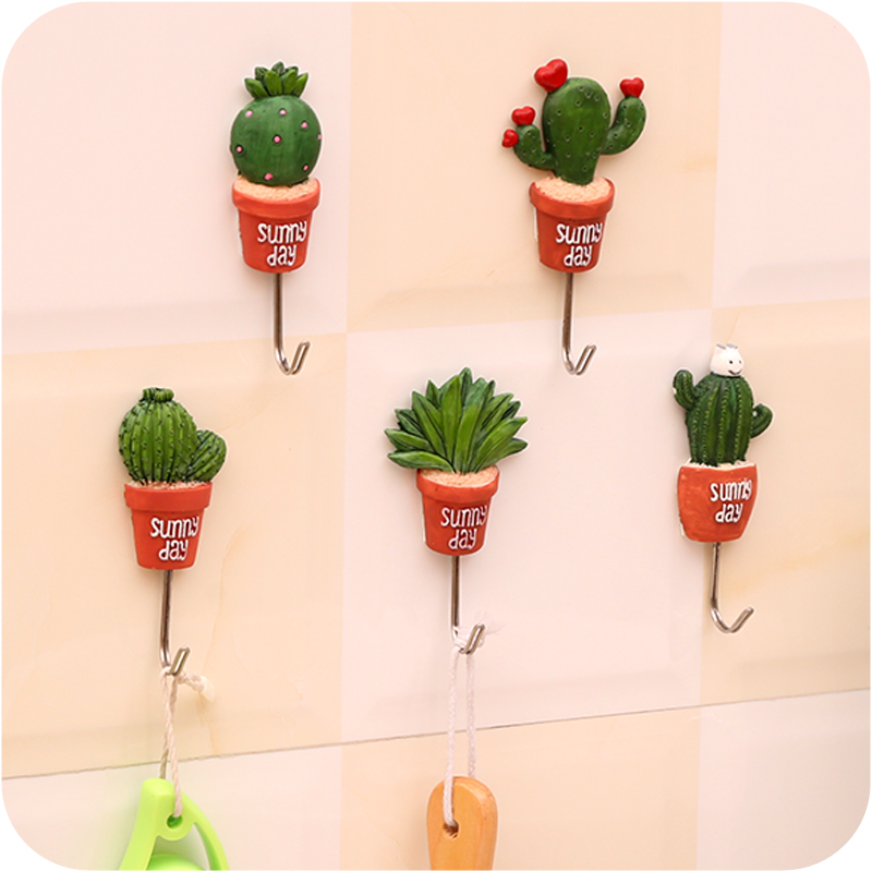 5pc/lot Small bonsai Design Hooks Kitchenware Hanger Kitchenroom Green Plants Decor Hook Stainless steel wall adhesive hook(China (Mainland))