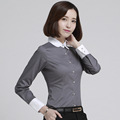 5XL Plus Size Women Blouses 2016 Summer Office Lady Occupational Shirts Long Sleeve Peter Pan Collar