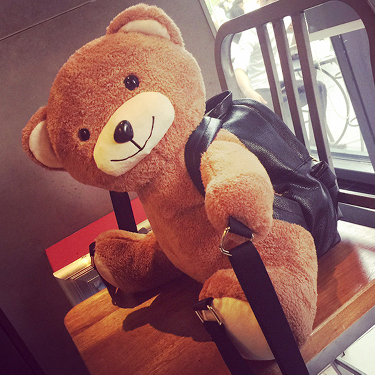 Cute Brown Bear Plush Backpack For Kids Toddlers Girls Boys School Bag Soft Toy Gift(China (Mainland))