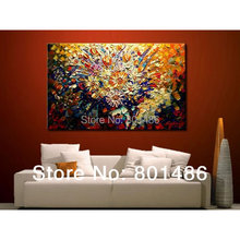 Free shipping! Handmade abstract oil paintings modern palette knife flower painting frameless landscape Wall Art(China (Mainland))