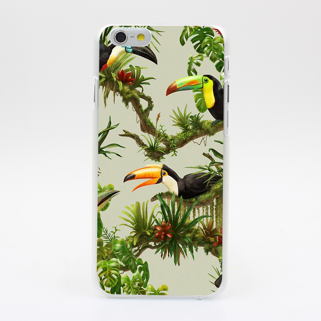 2141T Toucans And Bromeliads Canvas Background Hard Case Cover for iPhone 4 4s 5 5s SE 5C 6 6s Plus Skin Back(China (Mainland))