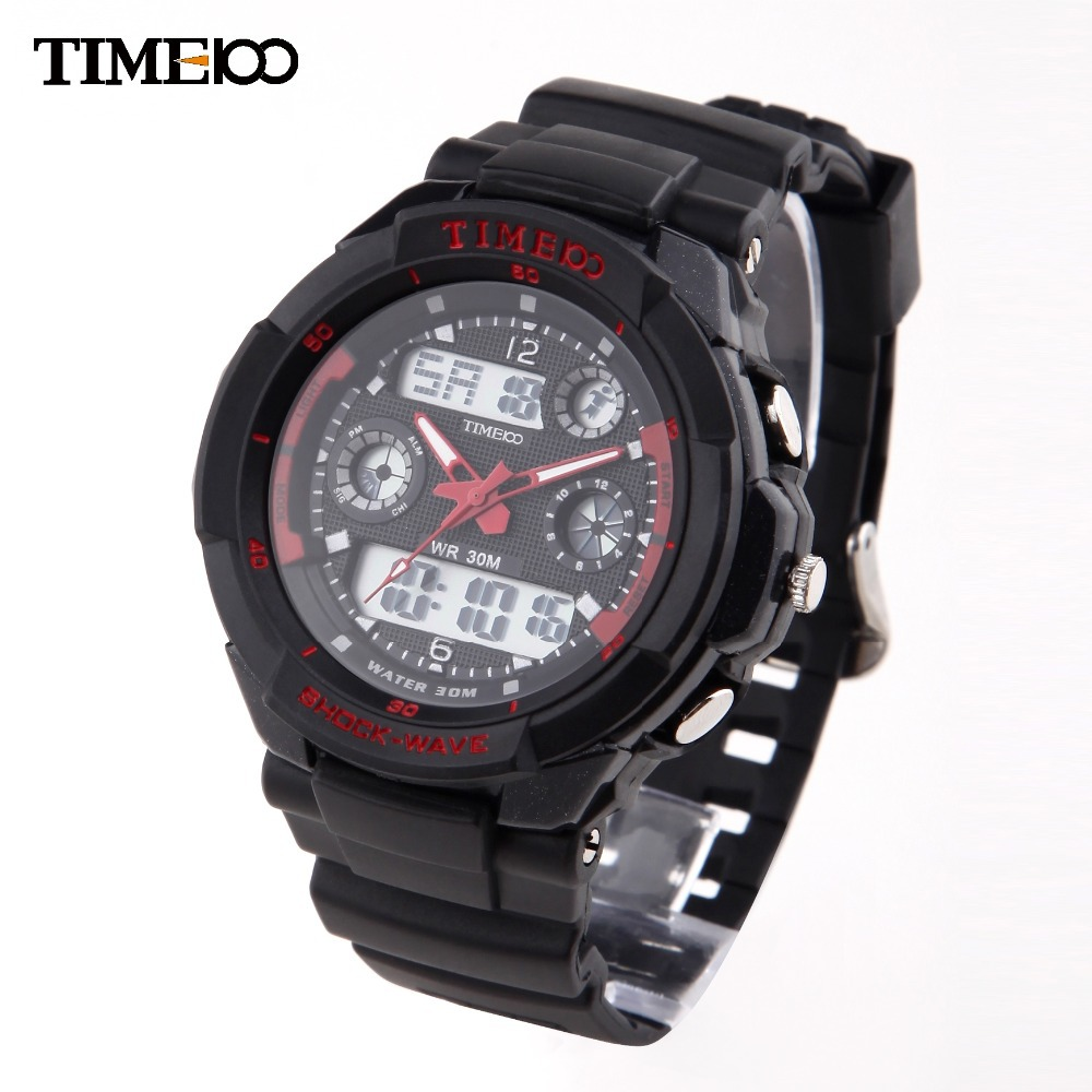Hot Sale 30m Waterproof TIME100 Dual-time Multifunction Rubber Strap Outdoor Sport Quartz Digital Watches For Men#W40017M.02A<br><br>Aliexpress