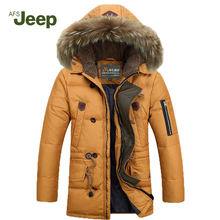 New listing 2015 Winter Afs Jeep Men Down Parkas Jackets Fashion Man Hooded Thick Warm Outdoors Outwear Overcoat Wadded Coat 160(China (Mainland))